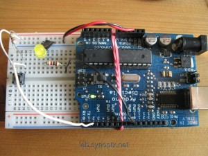 breadboard with Arduino backpack